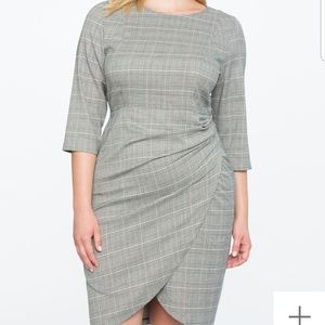 Eloquii Plaid Dress w/ Wrap Skirt